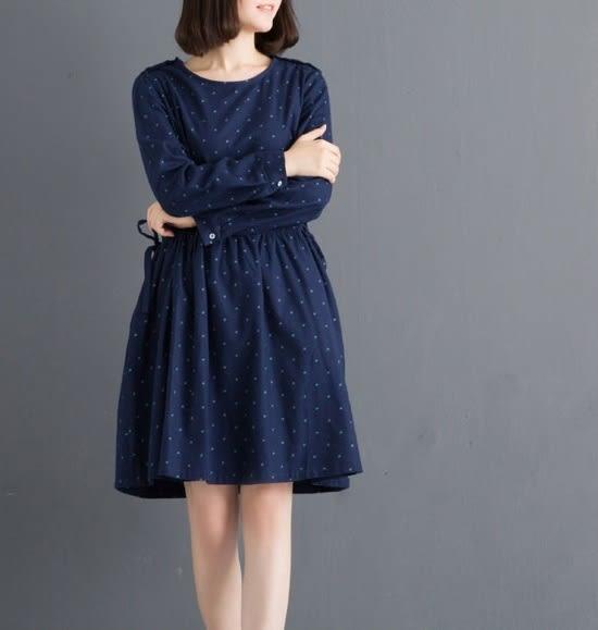 ☆莎lala 【L511028】日森系連身裙 - (現)深藍色碎花收腰綁帶洋裝(SIZE約: L)