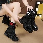 襪靴 2021新款百搭厚底增高女士潮酷英倫風單款機車秋冬季高幫彈力襪靴 韓國時尚週
