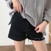【狐狸跑跑】夏季韓版個性不對稱撕邊破洞高腰牛仔短褲女DK3252