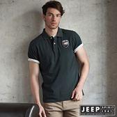 【JEEP】經典北極熊徽章短袖POLO衫(橄欖綠)