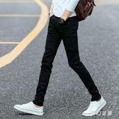 黑色彈力牛仔男士韓版修身青少年潮流男裝長褲 QW2918『夢幻家居』