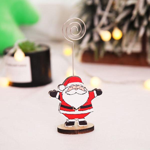 【BlueCat】聖誕節橢圓形底麋鹿企鵝木質留言夾 名片夾