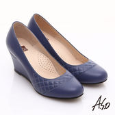 A.S.O 優雅時尚 真皮菱格壓紋金屬片楔型鞋 藍