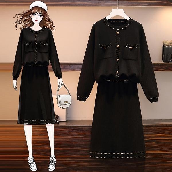 套裝兩件式 2020大碼女裝秋冬新款L-4XL氣質名媛針織套裝顯瘦減齡兩件套女4F108.812 胖丫