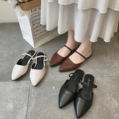 快速出貨 包頭半拖鞋女平底 潮百搭韓版兩穿尖頭涼拖女外穿休閒