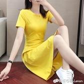 黃色裙子年新款夏天顯瘦純棉修身休閒運動長裙中長款洋裝女 雙十二全館免運