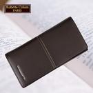 【Roberta Colum】諾貝達 男用專櫃皮夾 進口軟牛皮長夾(25008-2咖啡色)【威奇包仔通】
