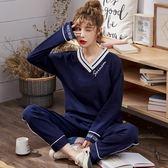 韓版睡衣女秋冬純棉長袖套裝全棉少女學生寬鬆春秋款可外穿家居服