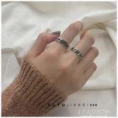 韓國版簡約復古s925純銀泰銀鏈條戒指麻花情侶對戒男女食指戒-Ifashion