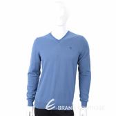 TRUSSARDI T字刺繡細節灰藍色針織羊毛衫 1710636-85