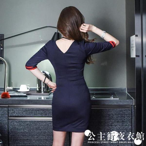 早秋正韓女氣質修身性感V領露背撞色包臀雙排扣洋裝連身裙