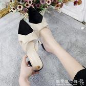 中跟半拖鞋  包頭拖鞋女夏外穿涼拖百搭韓版學生平底尖頭半拖女鞋子潮 『歐韓流行館』