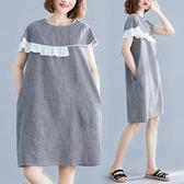 洋裝 連身裙文藝寬鬆黑白格子不對稱荷葉邊拼接中長款短袖圓領連衣裙