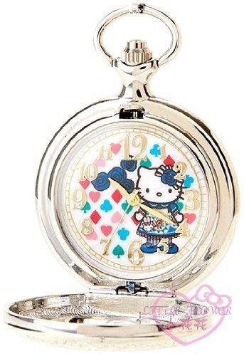 小花花日本精品♥ Hello Kitty 40周年限定 愛麗絲 可掛包包吊飾 懷錶 鍊錶 銀色99906504