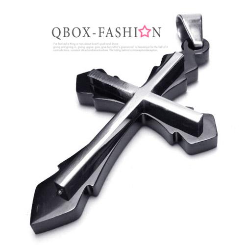 《QBOX 》FASHION 飾品【W10018033】精緻個性立體簡約十字架316L鈦鋼墬子項鍊(黑)
