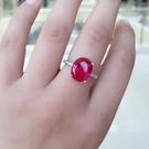 天然紅鋯石紅寶石尖晶石戒指925銀鍍白金瑞麗女款