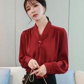 限時特購 襯衫女長袖春裝新款韓版寬松洋氣飄帶上衣氣質緞面OL職業襯衣