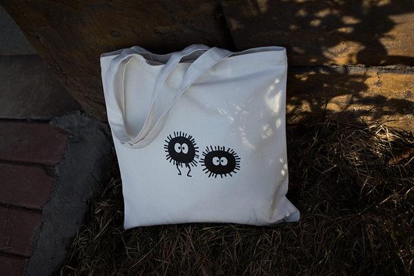 現貨(有拉鍊)小黑炭帆布包單肩手提簡約購物袋-蛋妹的店