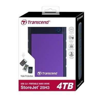 創見 行動硬碟 【TS4TSJ25H3P】 H3P 2.5吋 4T 4TB 超大儲存量 軍規三層抗震系統 新風尚潮流
