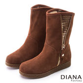 DIANA 冬季必備--裝飾拉鍊亮鑽貼片真皮雪靴-棕★特價商品恕不能換貨★