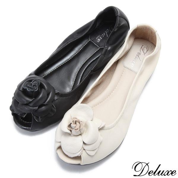 【Deluxe】全真皮薔薇美人柔軟魚口鞋(米☆黑)