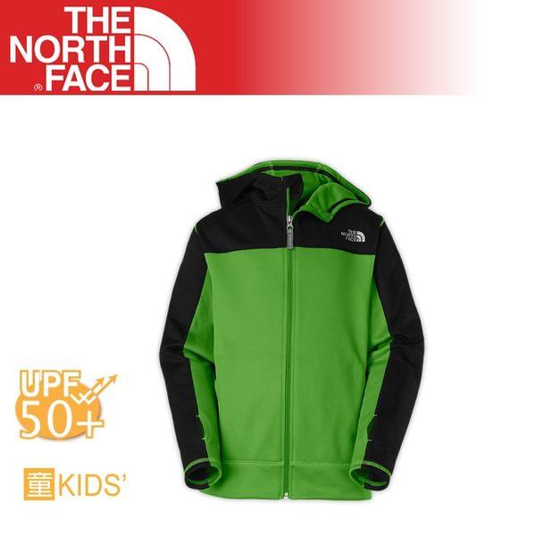 【The North Face 男童 抗UV刷毛兜帽外套《閃光綠》】A9EL/質輕/保暖外套/帽T