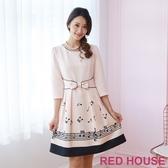 RED HOUSE-蕾赫斯-蝴蝶結樂譜洋裝(粉色)