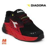 【Diadora 迪亞多那】男款休閒慢跑鞋  寬楦 -黑紅(D6602)全方位跑步概念館