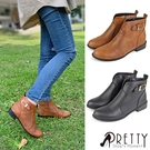 B-28018 女款踝靴/短靴 台灣製簡約V型皮釦粗低跟尖頭踝靴/短靴【PRETTY】