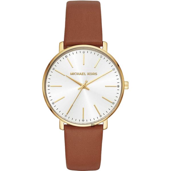 Michael Kors Pyper 紐約時尚女錶-銀x金框x咖啡色錶帶/38mm MK2740