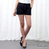 Victoria 綁帶褲口反摺短褲-女-黑色