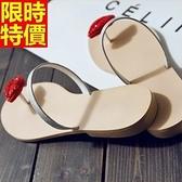 涼鞋-平底水鑽紅唇個性設計夾腳女休閒鞋67d23【巴黎精品】