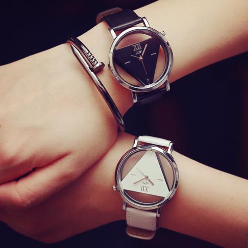 韓版時尚簡約鏤空三角造型情侶手錶對錶男錶女錶中性錶 [W001]