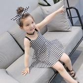 女童夏裝韓版新品童裝兒童 經典格子吊帶裙中小童寶寶連身裙