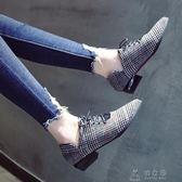 粗跟尖頭單鞋女8新款韓版復古格子英倫風女鞋繫帶低跟鞋子     俏女孩
