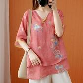 棉麻上衣 夏季大碼民族風上衣女復古印花改良減齡漢服盤扣文藝中袖棉麻襯衫