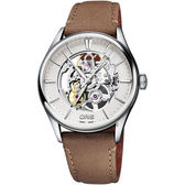 ORIS豪利時 Artelier 藝術家鏤空機械錶-銀x咖啡色錶帶/40mm 0173477214051-0752132FC