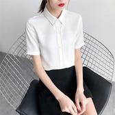 夏裝新款女寬松黑色襯衣韓范修身大碼雪紡衫OL上衣 GB4714『樂愛居家館』