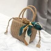 ins同款草編包手提復古度假編織包森繫海邊迷你沙灘包氣質小包女 衣櫥の秘密