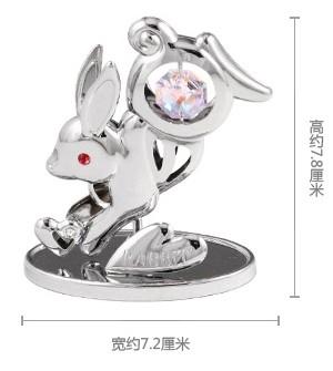 CRYSTOCRAFT十二生肖兔 水晶 家居 擺件 車內飾品 創意