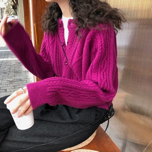 針織開衫 麻花毛衣女寬松外穿春秋季韓版慵懶百搭針織開衫短款外套上衣加厚