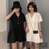 夏季新款韓版寬松顯瘦V領氣質荷葉邊短裙小個子洋氣短袖連身裙女