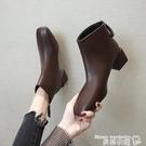 高跟短靴 網紅方頭馬丁靴女2021秋冬新...