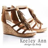 ★2018春夏★Keeley Ann率性嬉皮~律動流蘇後拉鍊真皮楔形涼鞋(棕色) -Ann系列