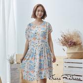 【Tiara Tiara】花語印象腰綁帶短袖洋裝(米) 新品穿搭