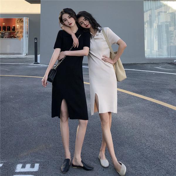 清倉288 韓系氣質修身顯短袖包臀開叉針織短袖洋裝