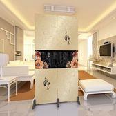 (交換禮物)2扇中式屏風隔斷門墻折屏臥室折疊玄關隔斷客廳布藝時尚簡約定制