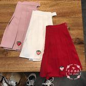 百褶裙 韓版草莓刺繡高腰百褶裙
