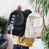 新款帆布蝴蝶結可愛後背背包女正韓校園初中學生簡約百搭萬聖節,7折起
