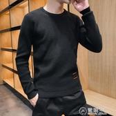 毛衣男士秋冬季韓版潮流寬鬆半高領個性線衣加厚羊毛絨衫針織衫  聖誕節免運